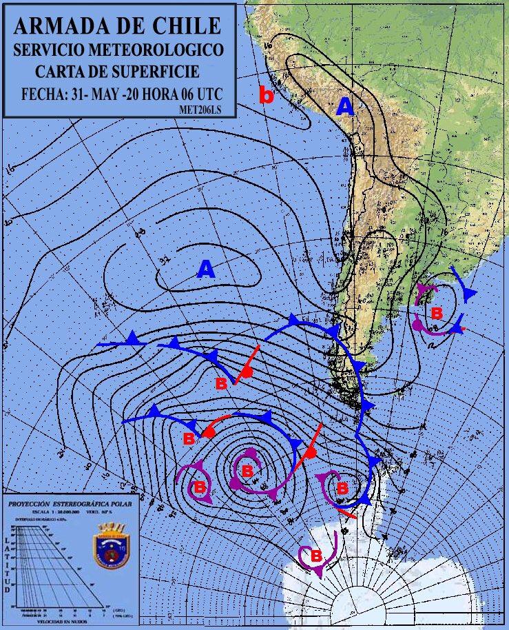RT @cristobalreus Carta Sinóptica de hoy Domingo. Se observa circulación ciclónica entre Arica-Parinacota y Maule, en niveles altos de la atmósfera una baja segregada entre Antofagasta y Maule. Entre Ñuble y Aysén domina un régimen anticiclónico frío. Magallanes con inestabilidad post-frontal.