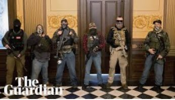 America in 2020 ~ White dudes w/semi-automatics take over the capitol in Lansing to protest social distancing as law enforcement doesn't bat an eye. Unarmed people protest the murder of George Floyd and cops shoot tear gas and rubber bullets to force them off the streets. SMFH