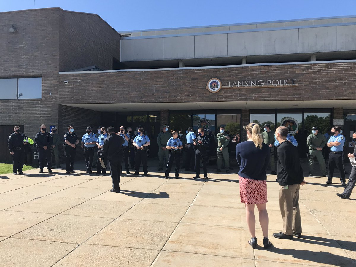 Lansing area police departments have gathered this morning to denounce police brutality