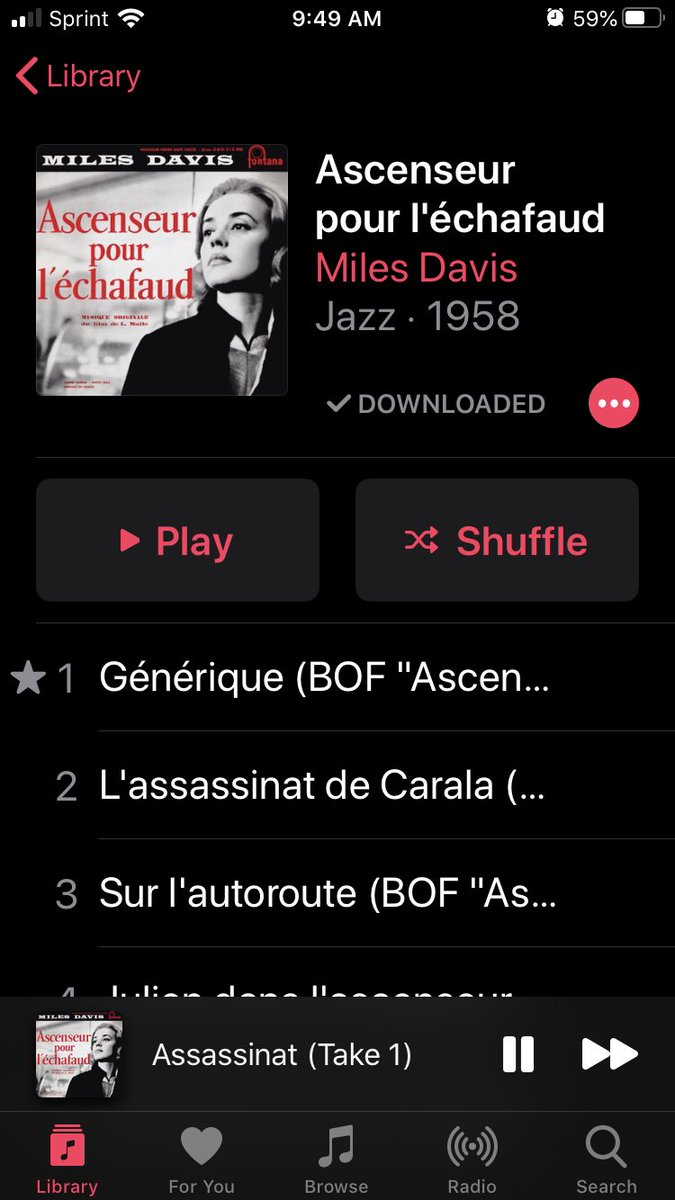 A week ago I hadn't heard of this movie or this soundtrack. Thank you, @milesdavisfilm and @criterionchannl. #culture #louismalle #jeannemoreau #milesdavis pic.twitter.com/7qjENoic7v