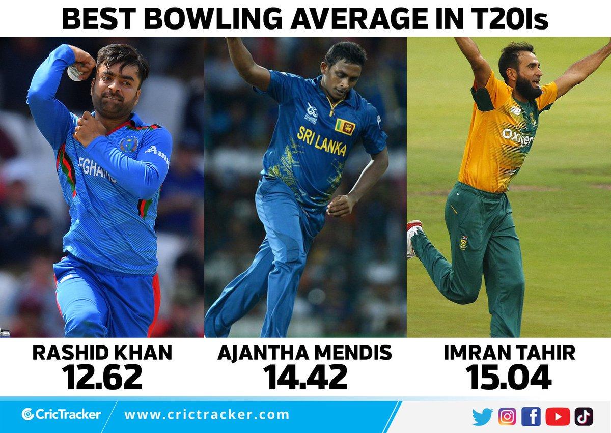 @rashidkhan_19 has the best bowling average in T20Is.  #RashidKhan #AjanthaMendis #ImranTahir #Bowling #Average #Cricket #CricTracker https://t.co/roswSnO4YT