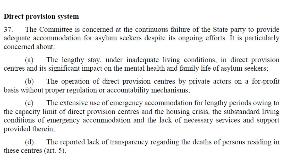 1/2  In January the @UNHumanRights Committee for Elimination of Racial Discrimination said the following about #DirectProvision ⬇️  Full report: https://t.co/JHfj1egJCH  #BlackLivesMatter #EndDirectProvision   #RefugeesWelcome https://t.co/t6Ip0y1zsi