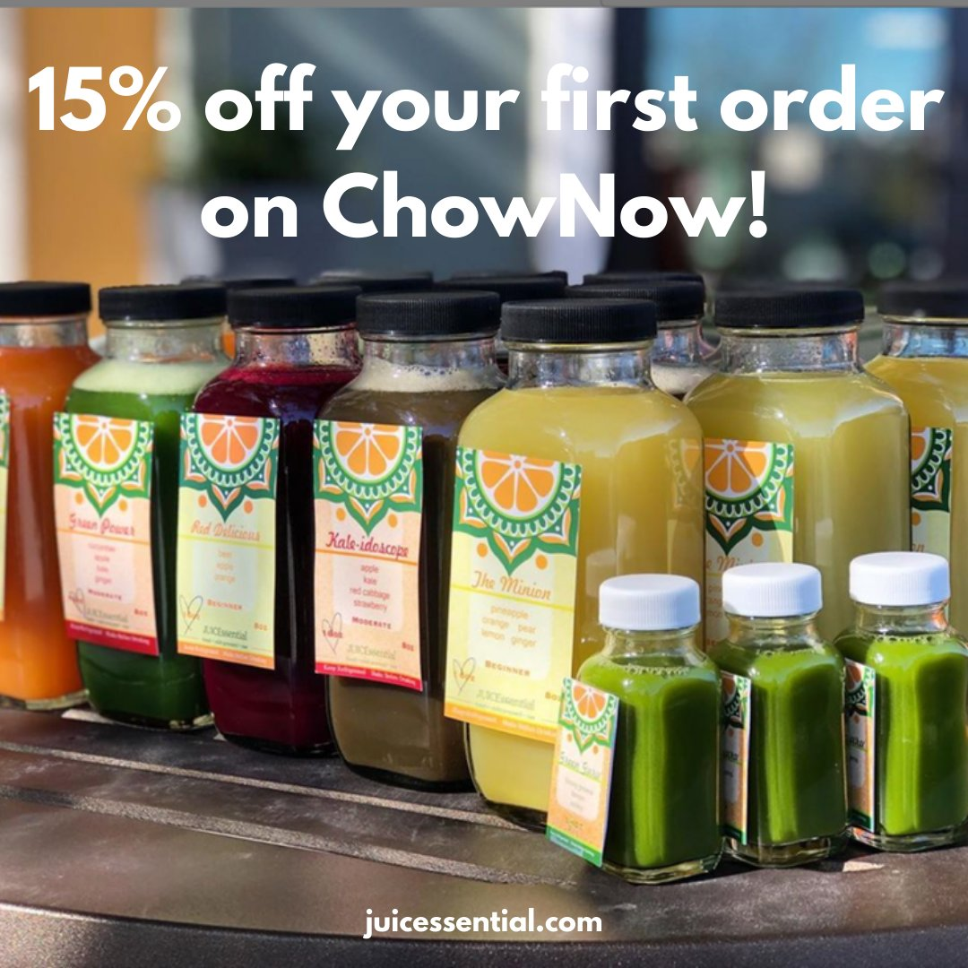 For a limited time, you can get 15% off of your first order when your order through #ChowNow! You can do this by downloading the #JUICEssential #app or ordering for pick up on https://t.co/tCztsACnkV. Some exclusions apply. #SupportLocal #SanAntion #raw #coldpressed #juice #acia https://t.co/IP5NDxxws4
