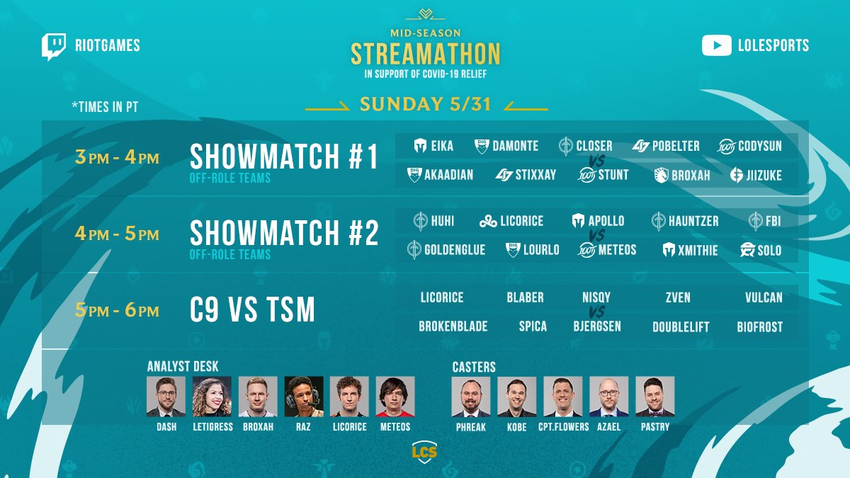 Our portion of the 2020 Mid-Season Streamathon begins in just a few minutes! We start things off with two off-role #LCS show matches followed by a face off between @Cloud9 and @TSM! #MSS2020 Tune in on Twitter at @lolesports or 📺 watch.lolesports.com/live/midseason… twitter.com/lolesports/sta…