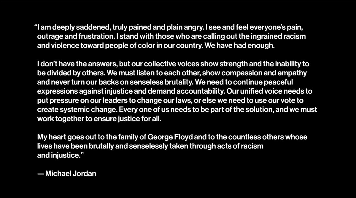 Michael Jordan releases a statement regarding the death of George Floyd. (via @ShamsCharania)