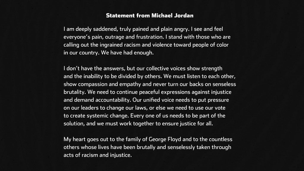 "Charlotte @hornets owner Michael Jordan just issued this statement on the death of George Floyd and the days of protest since: ""We have had enough"" https://t.co/LFBCeRGevf"