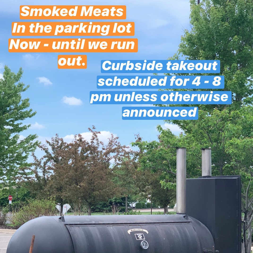 We're here to bring a little light to your day. Smoked meats in the parking lot now - until we run out. Curbside takeout is on from 4 - 8 pm unless otherwise announced.  - - - #smokedmeats #minnesota #takeout #supportsmallbusiness https://t.co/oOWySDiG7O