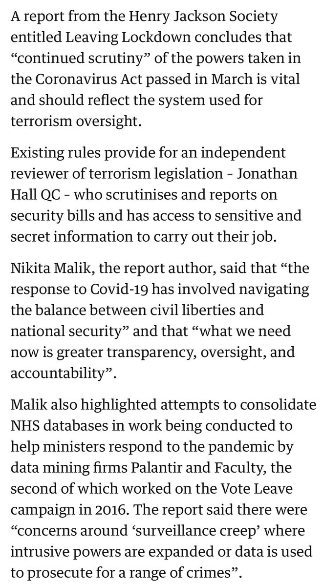 A @terrorwatchdog for #COVID19? There is sense in the idea, given the vital importance of public trust, but I would have thought it is vanishingly unlikely to happen.