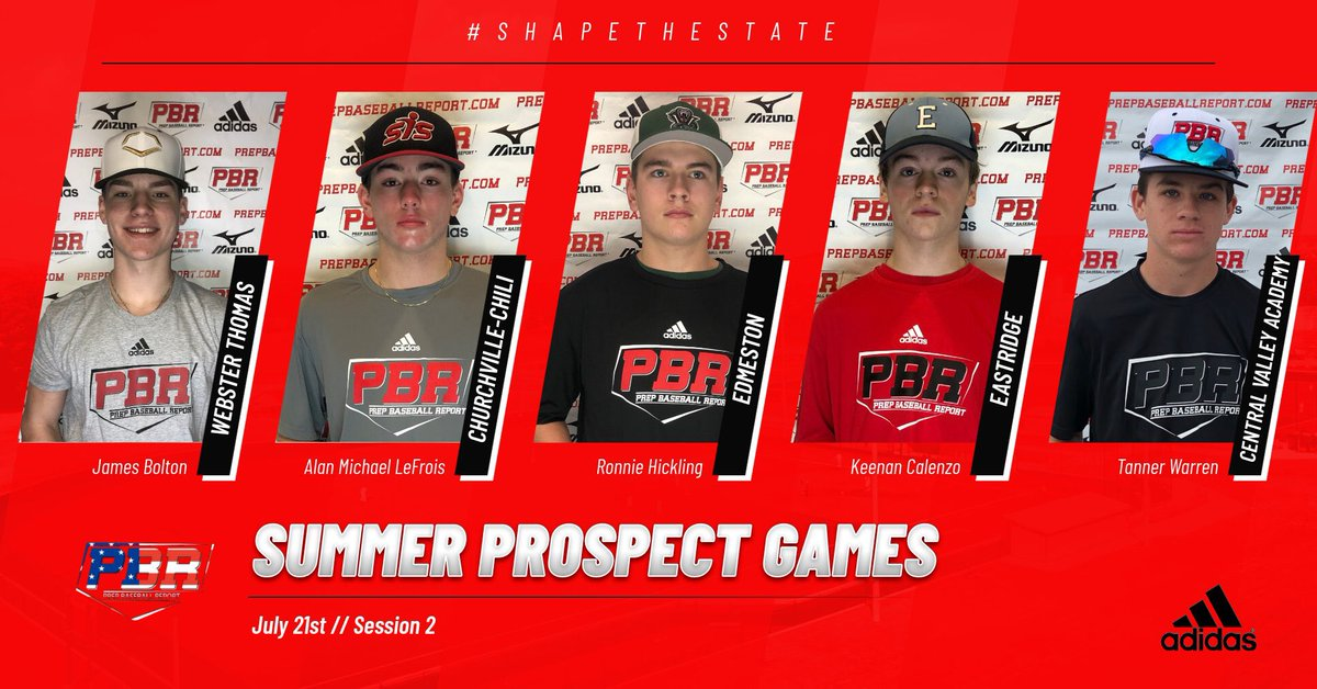 Summer Prospect Games Please welcome to Session 2 on July 21st: ▪️2022 C James Bolton (Webster Thomas) ▪️2021 MIF Alan Michael LeFrois (Churchville - Chili) ▪️2022 3B Ronnie Hickling (Edmeston) ▪️2021 MIF Keenan Calenzo (Eastridge) ▪️2023 MIF Tanner Warren (Central Valley Acad)