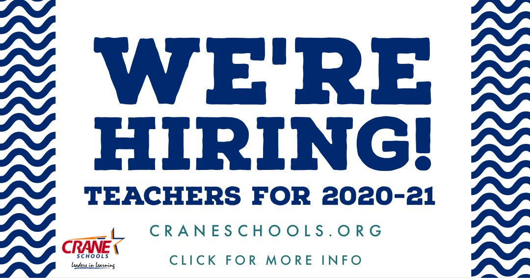 We're hiring teachers for the upcoming school year.  Join our Crew for 20-21 #WeAreCrane #Yuma  https:// craneesd.tedk12.com/hire/Index.aspx     <br>http://pic.twitter.com/Nn0ytE2Ndx
