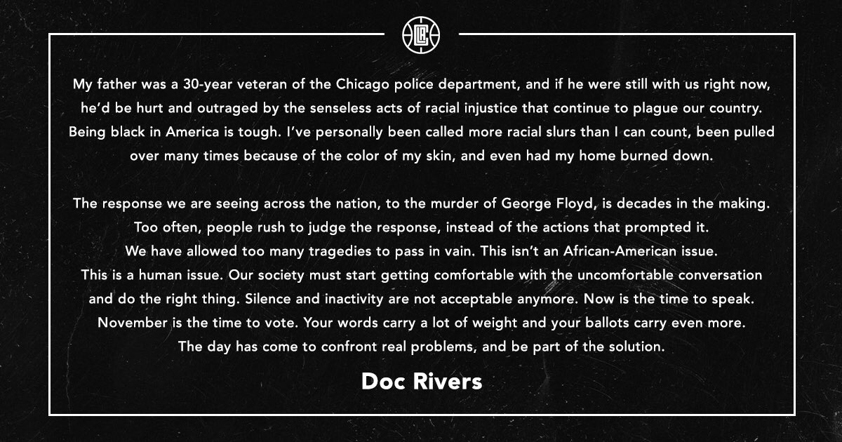 This isnt an African-American issue. This is a human issue. Doc Rivers releases a powerful statement regarding the death of George Floyd. (📷:: @LAClippers)