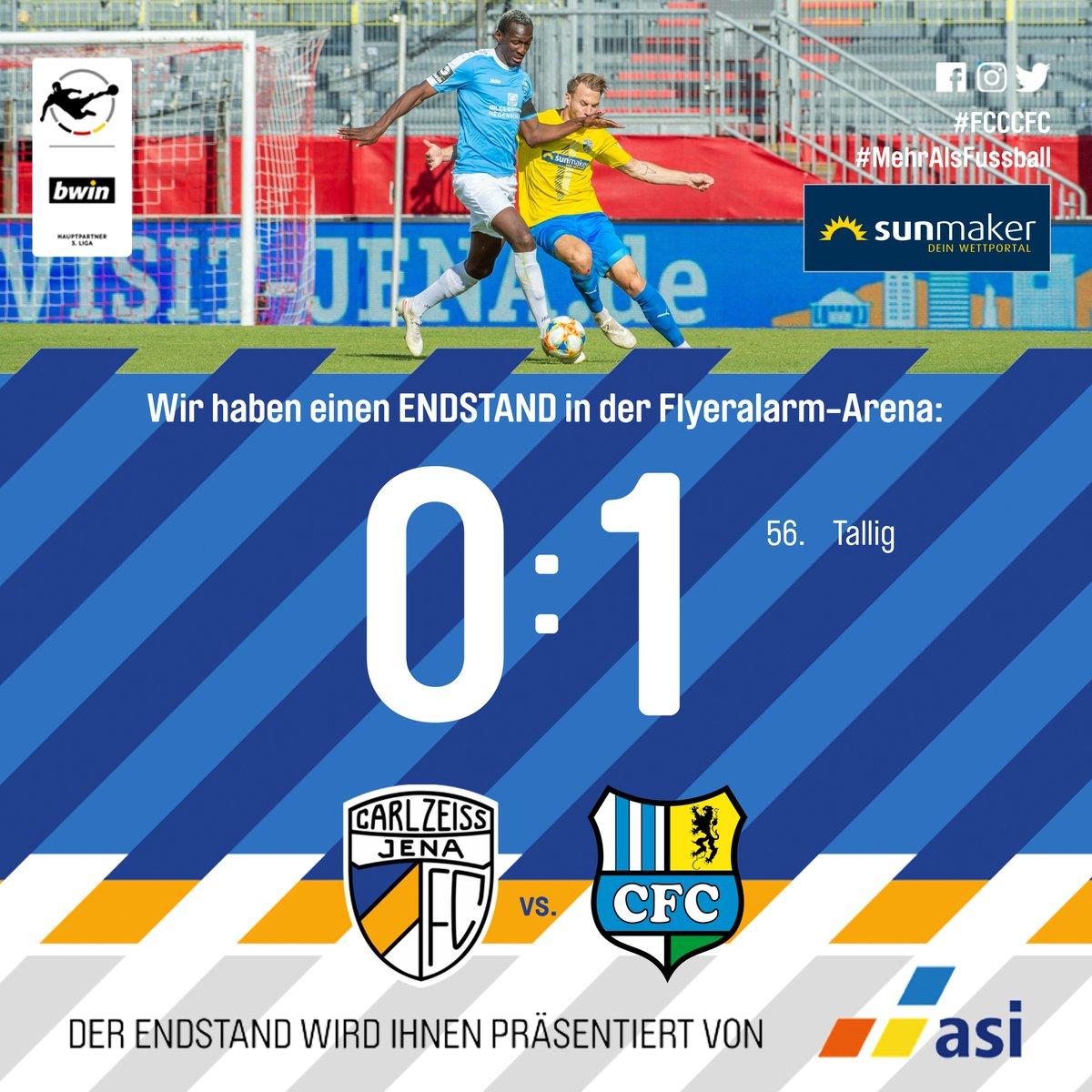 Am Ende verlieren wir knapp gegen den @ChemnitzerFC. #FCCCFC #FCC #NiemalsAufgeben