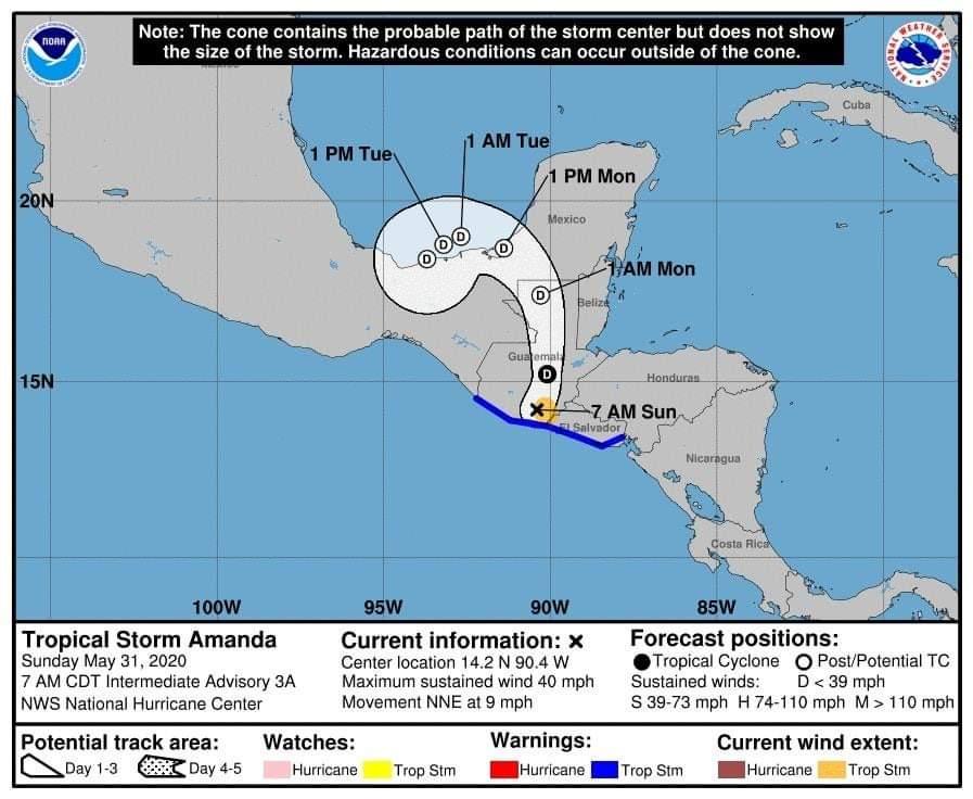 🔴 #ÚltimaHora    La Tormenta Tropical #Amanda ya ha salido de las costas de #ElSalvador y tocado tierra en #Guatemala.   Sin embargo, las lluvias continuarán desde la frontera México; en Guatemala, Honduras, El Salvador, hasta la zona del Pacifico en Nicaragua. https://t.co/eg6DEpH454