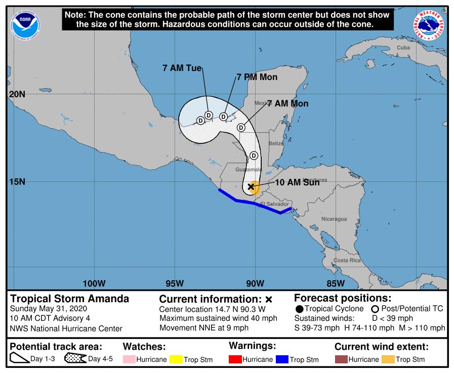 #aeropuerto #CiudadDelCarmen 28°C viento: E 13 km/hr mayormente nublado. La #TT #Amanda se encuentra sobre la costa SE de #Guatemala, cono de proyección del #NHC  estima q para el lunes se encuentre como depresión tropical sobre la #LagunaDeTerminos ⚠️🌧️⛈️🌩️⚠️ ⛈️ en la región. https://t.co/GxJtPplwJg