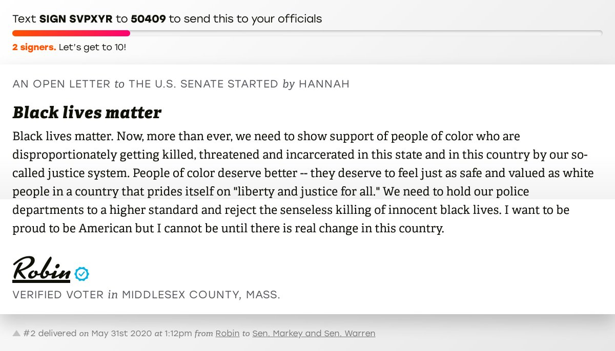 """🖋 Support Robin by signing """"Black lives matter"""" and I'll deliver a copy to your officials: https://t.co/KqO2bmBOfq  📨 Last delivered to @SenMarkey and @SenWarren #MA05 #MApoli #MApols https://t.co/8Gl8imIVok"""