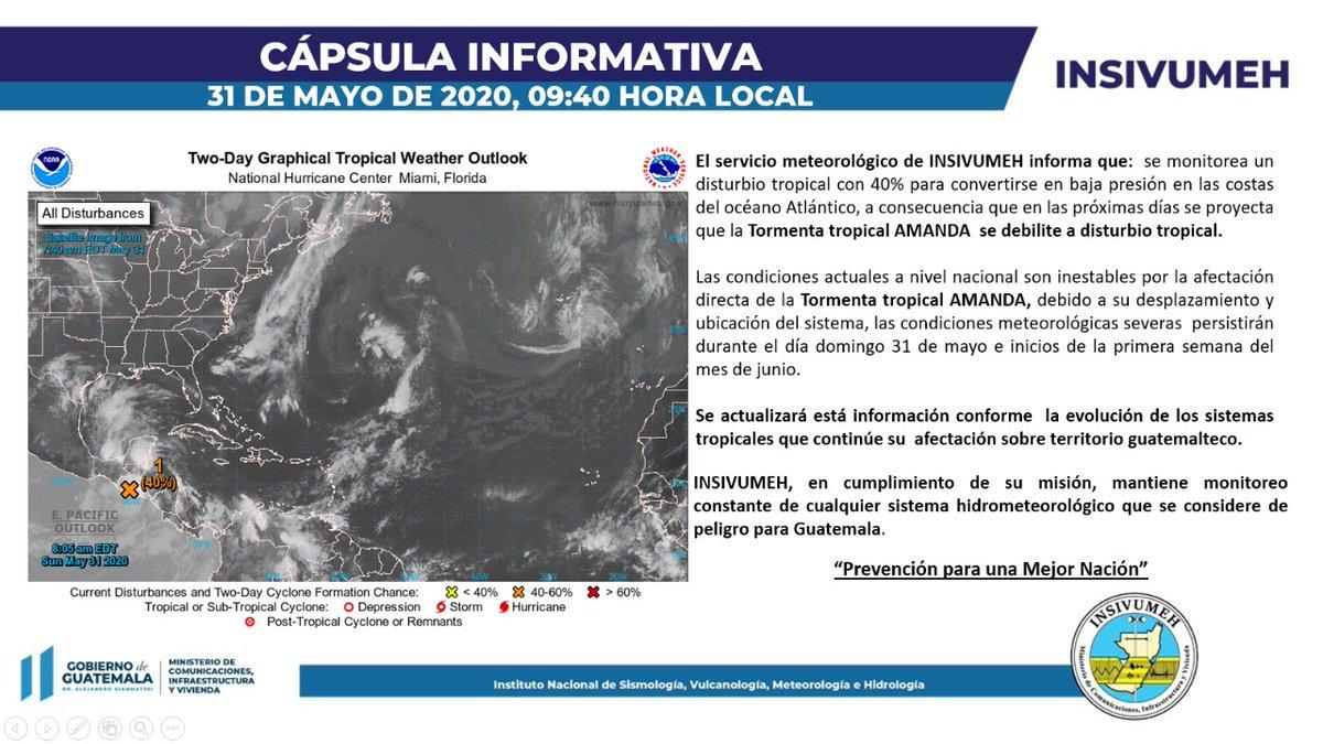 Actualización 9:40am: cápsula informativa.   Tormenta tropical Amanda se debilita a distrubio tropical.   INSIVUMEH prevención para una mejor nación.   #SomosInsivumeh #Guatemala https://t.co/pPTB3f89TX