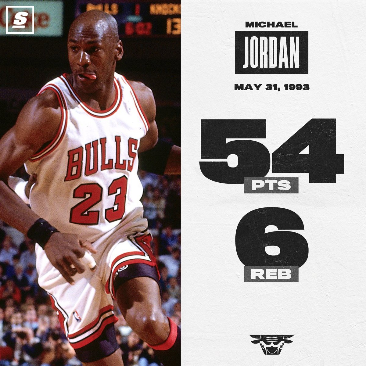 27 years ago, the Bulls trailed the Knicks 2-1 in the ECF. MJ put on a clinical performance at home to tie the series. 🐐