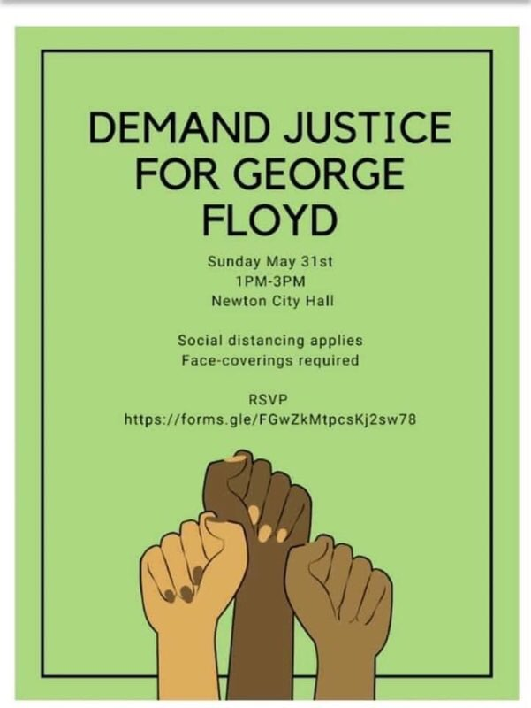 Join others in demanding racial justice at Newton City Hall today. #JusticeForGeorgeFloyd  Please be safe, please socially distance, and please make your voice heard #ma04 #mapoli https://t.co/5213fDsR2e