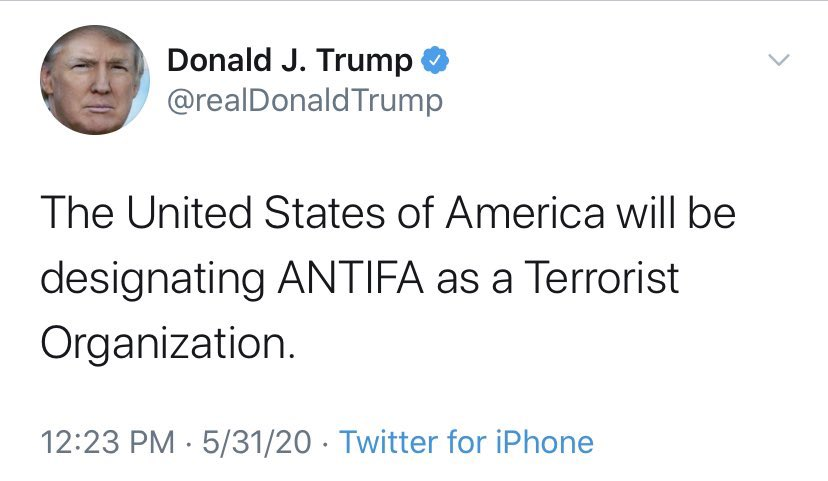 """there is no antifa organization. this is like saying """"the US will be designating gamers as a terrorist organization"""""""