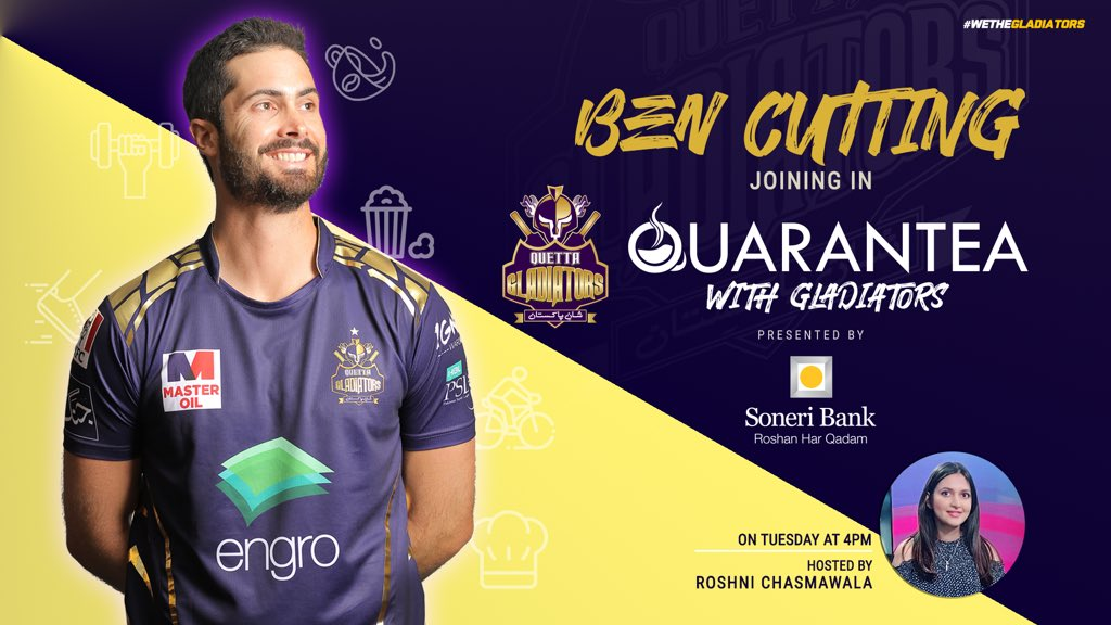 🤩 #PurpleForce!! Excited to know what's our amazing all-rounder 🔥 @Cuttsy31 is up to in recent times? Get to know with us for a fun-filled episode of #QuaranTeaWithGladiators, presented by #SoneriBank !!  ⌚️📆 Tuesday, at 4:00pm [PST]  #WeTheGladiators https://t.co/PNIkdzjPuG