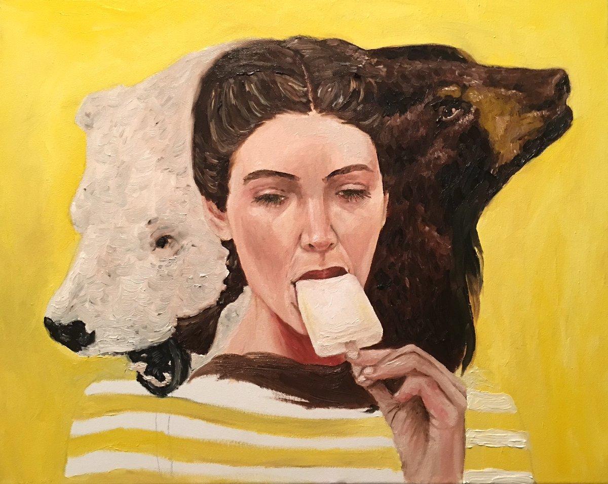 Sleep Eater III, 2020 Oil on canvas 16 in x 20 in  #Art #ArtistOnTwitter #Oil #Painting #Canvas #Sleep #Eat #Ice #Earth #PolarBear #BrownBear #Bipolar #MentalHealth #Medication #Dream #Surrealism https://t.co/SN7FkV3ZhJ
