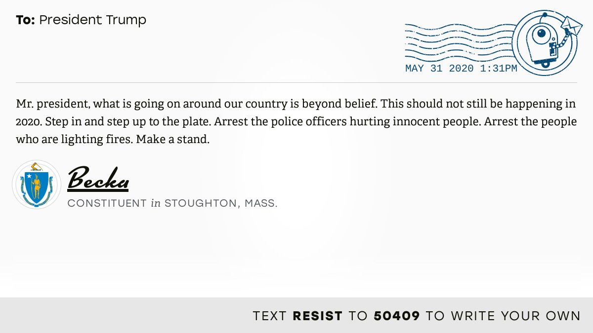 📬 I delivered this ✉️ from Becka, a constituent in Stoughton, Mass., to @realDonaldTrump #MA08 #MApoli #MApols  📝 Write your own: https://t.co/z5540KFSKD https://t.co/8S8gbXwJD4