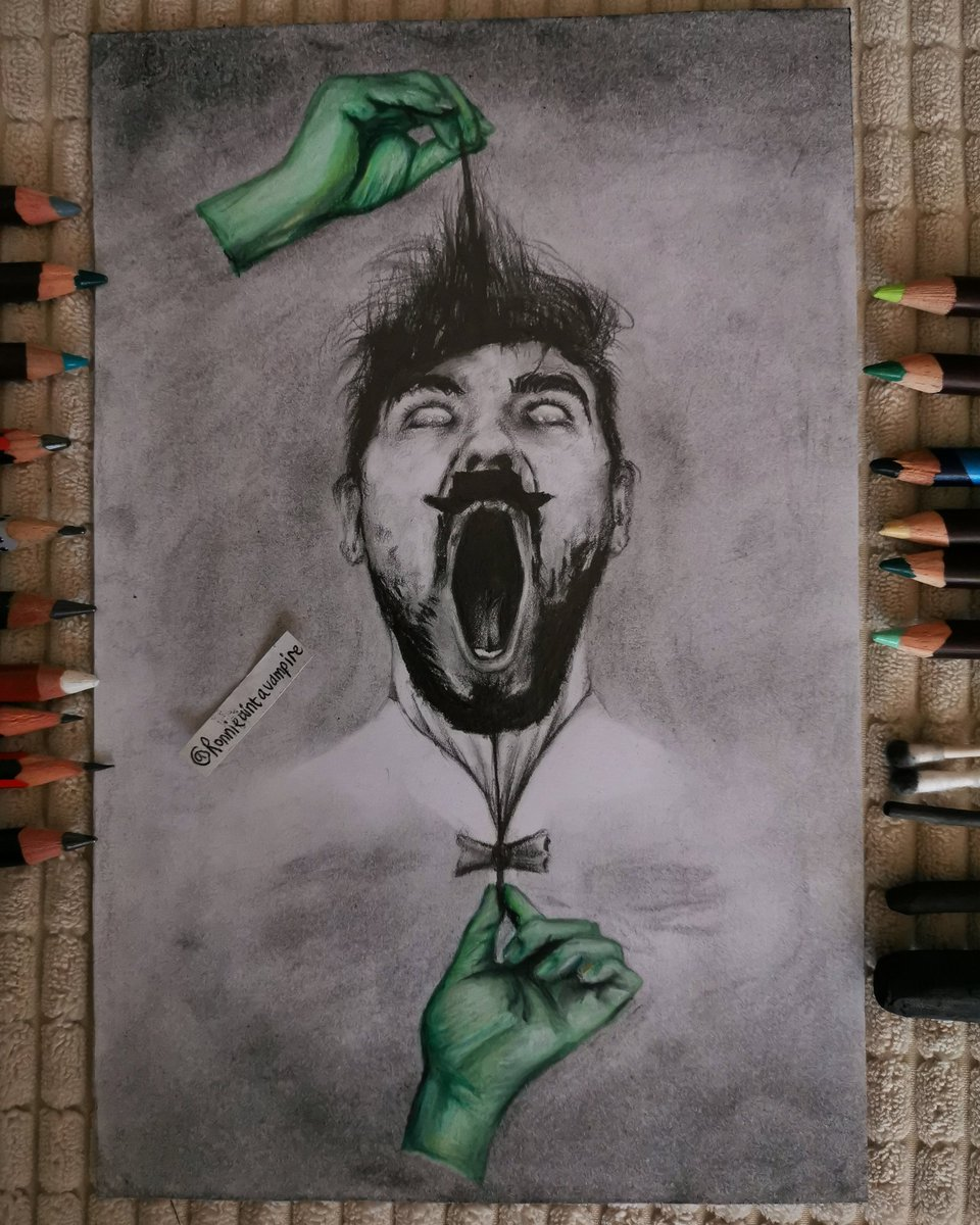 drawing of jameson jackson & antisepticeye - drawn with graphite pencils, promarkers, derwent coloursoft pencils & charcoal on 16x24.5cm card. i didn't intend to make this surrealist or angsty, but i'm glad it went that way.  @Jack_Septic_Eye #fineart #alevels #contemporaryart pic.twitter.com/slwTFz8Xke