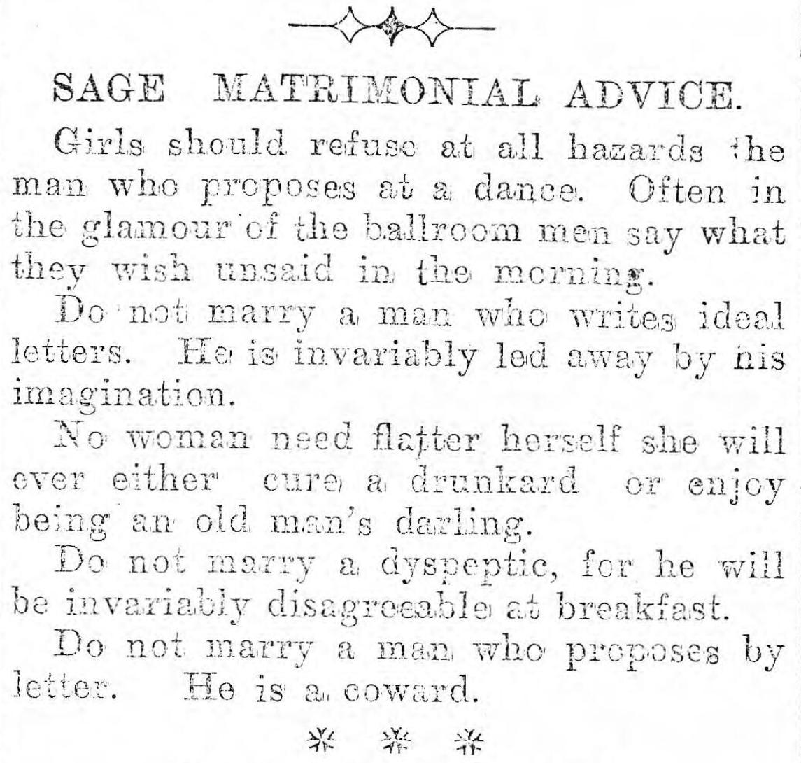 'Sage matrimonial advice'  Llandudno Advertiser • 1903   #Wales #History pic.twitter.com/Dh7NgQGcBH