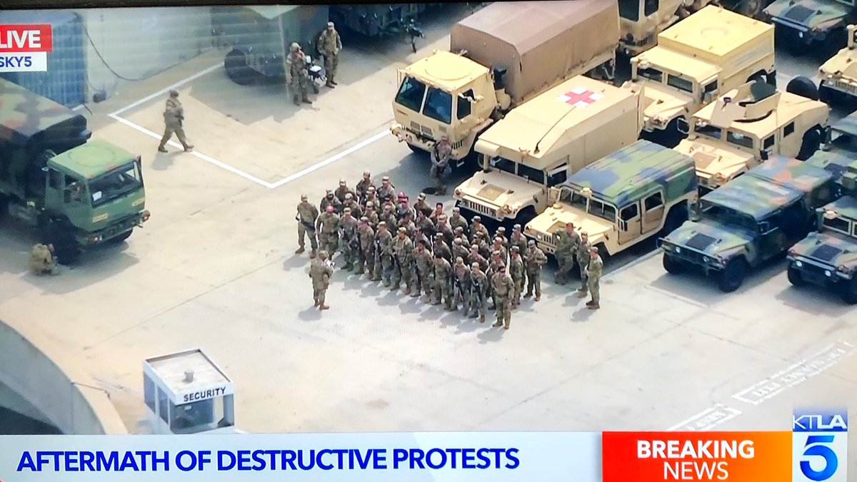 Replying to @commieAK47: Los Angeles convention center has been transformed into a military base