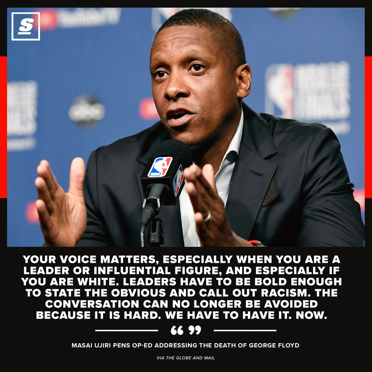 Masai Ujiri penned a powerful editorial in response to the death of George Floyd. ❤️
