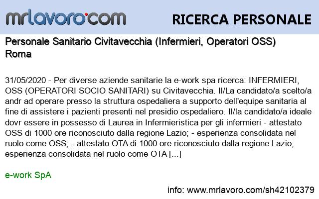 Nuova offerta di #lavoro Personale Sanitario Civitavecchia (Infermieri, Operatori OSS) Maggiori dettagli qui: https://www.mrlavoro.com/tw42102379pic.twitter.com/RcFveJWCaw