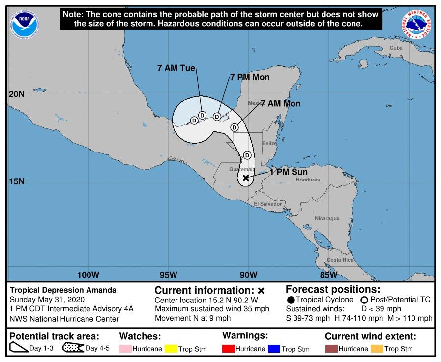 test Twitter Media - #AHORA De acuerdo con el Centro Nacional de Huracanes, la Tormenta Tropical Amanda ha perdido fuerza al desplazarse sobre Guatemala, ahora es Depresión Tropical Amanda y el centro del ciclón se ubica sobre Baja Verapaz avanzando en dirección Norte.Vía: @ConredGuatemala https://t.co/k8p045OeGp