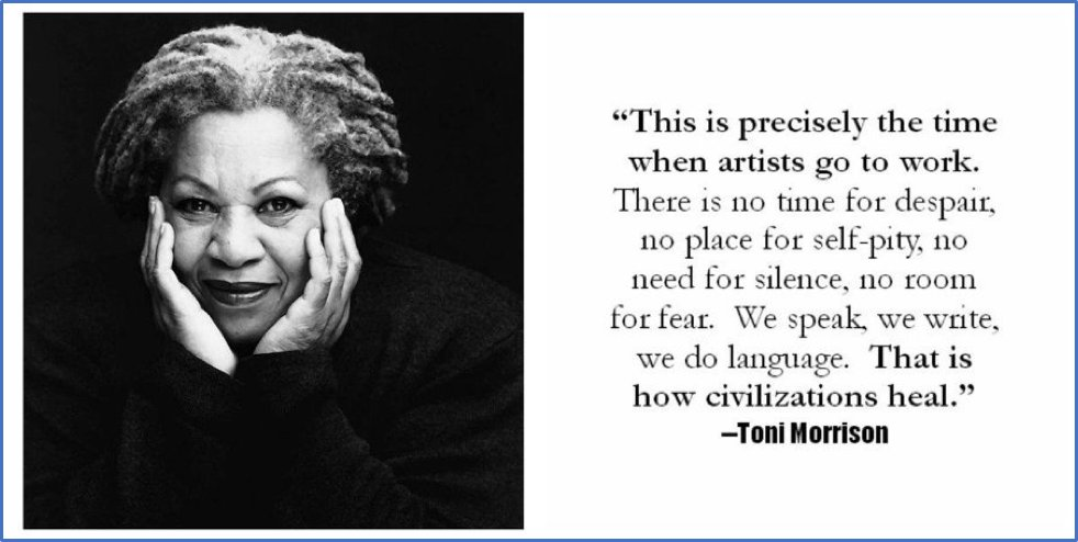 #WritingCommunity!  #writerslift! #amwriting! #ShamelessSelfPromo!   Drop your #book, #wip, #website, #blog, #poetry, #coverart...  #Follow, #RT, #heart, #comment  We follow back!  Bonus: We all need a little Toni Morrison on a day like today...pic.twitter.com/f1SAB5YUQt
