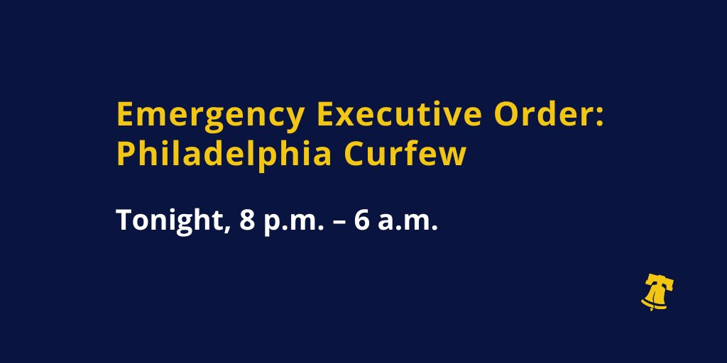 The citywide curfew in Philadelphia continues tonight from 8 p.m.–6 a.m. During this time, people may leave their homes only to go to work at essential businesses or to seek medical attention or police assistance. bit.ly/2XfK15S