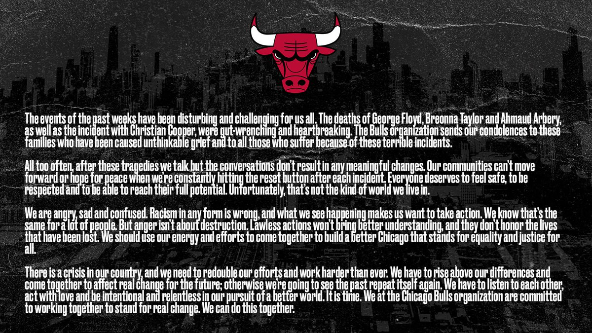 A statement from Nancy & Michael Reinsdorf on behalf of the Chicago Bulls: https://t.co/4PhMOk8u4z