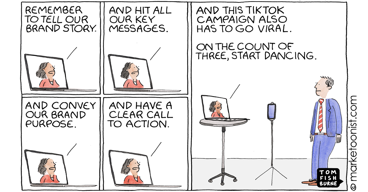 """""""Brands on TikTok"""" - new cartoon and post on marketing plans driven by a fear of missing out https://t.co/Iaipgkf7o0 #marketing #cartoon #marketoon https://t.co/90zAz1NE8J"""
