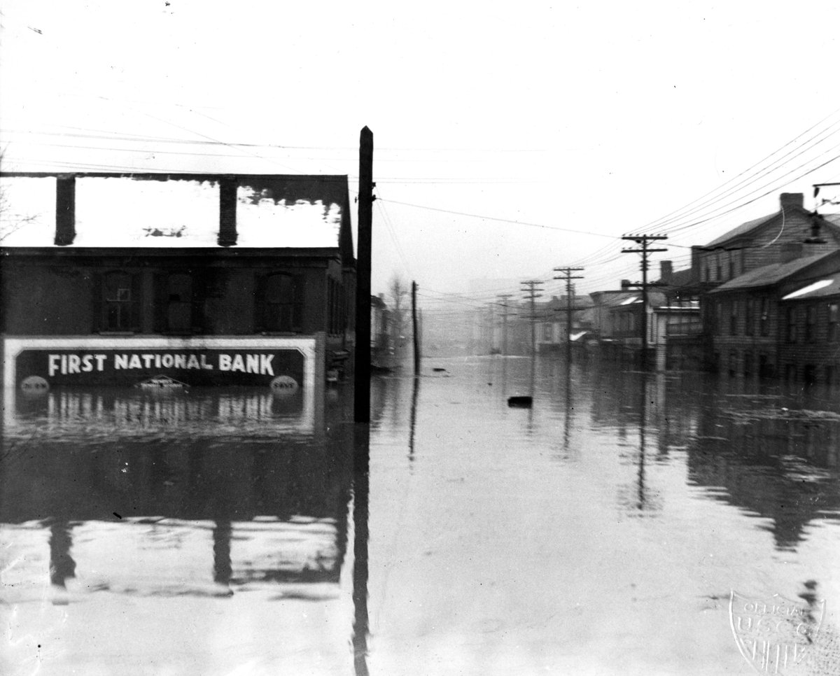 Flood waters in downtown Bellaire, Ohio. U.S. Coast Guard photo.