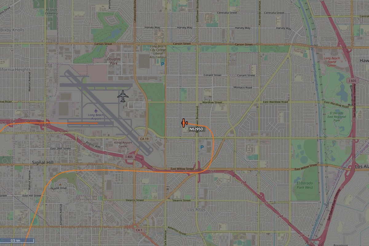 N6295D, a 1979 Cessna 172N, is circling over Long Beach at 500 feet, speed 89 MPH, squawking 1200, 0.00 miles from Eyebrow Threading #N6295D https://tar1090.adsbexchange.com/?icao=A83AB7&zoom=13…pic.twitter.com/1uykyxECiD