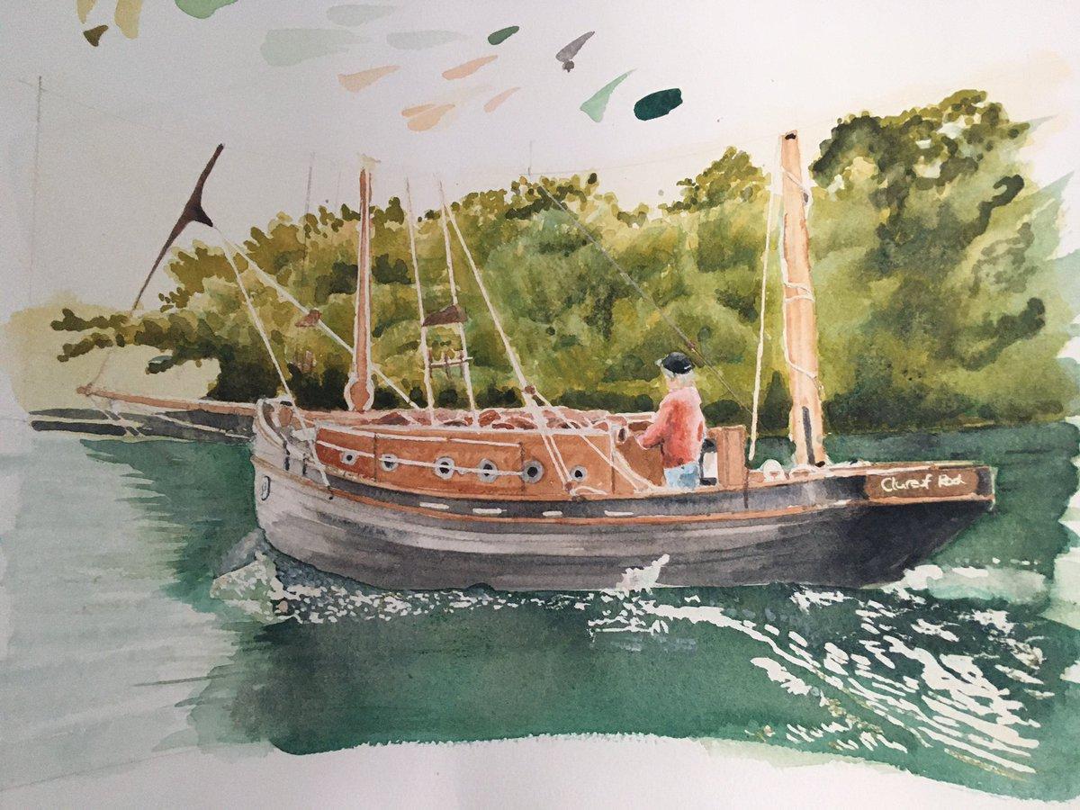 Mothers got skills. #boat #paintingHelfordriverpic.twitter.com/VTEzFPhivm