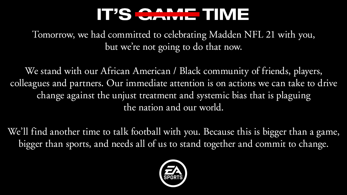 An official statement from EA SPORTS