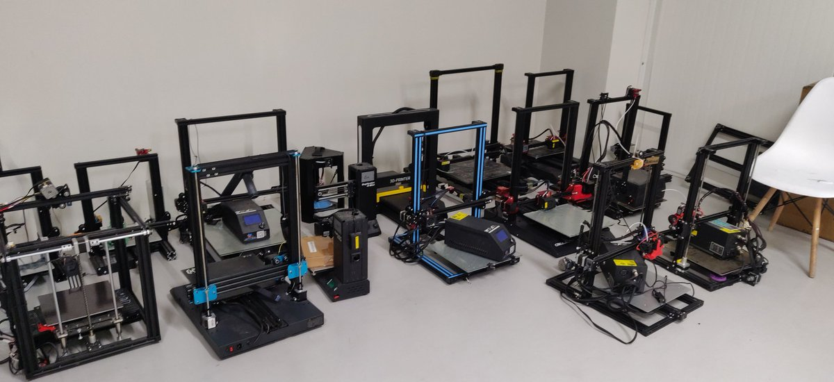 So we've finally started moving @3dInvent to a larger space. These are the first batch of #3dprinters. Quite a mix of modded and stock machines.   @Creality3dprint  @Artillery3d1  @anycubic3dprint @JGAURORA3D