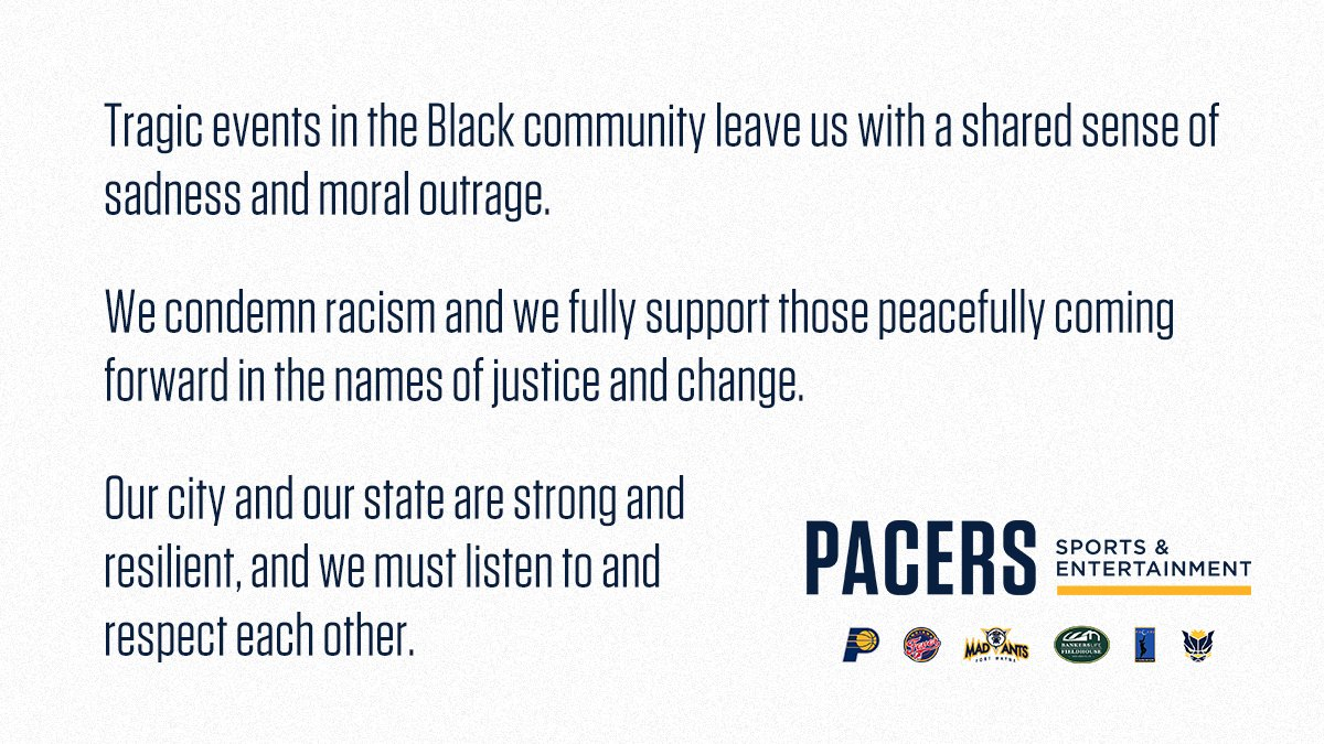 A statement from Pacers Sports & Entertainment https://t.co/qaKcLNJH2g
