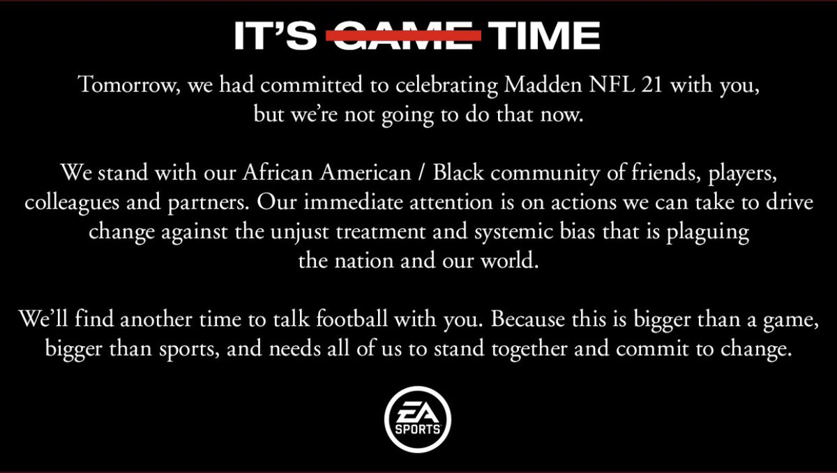 In light of the events in Minnesota and around the country, EA Sports postponed Monday's scheduled Madden NFL 21 announcement. https://t.co/UGSChX7oNO