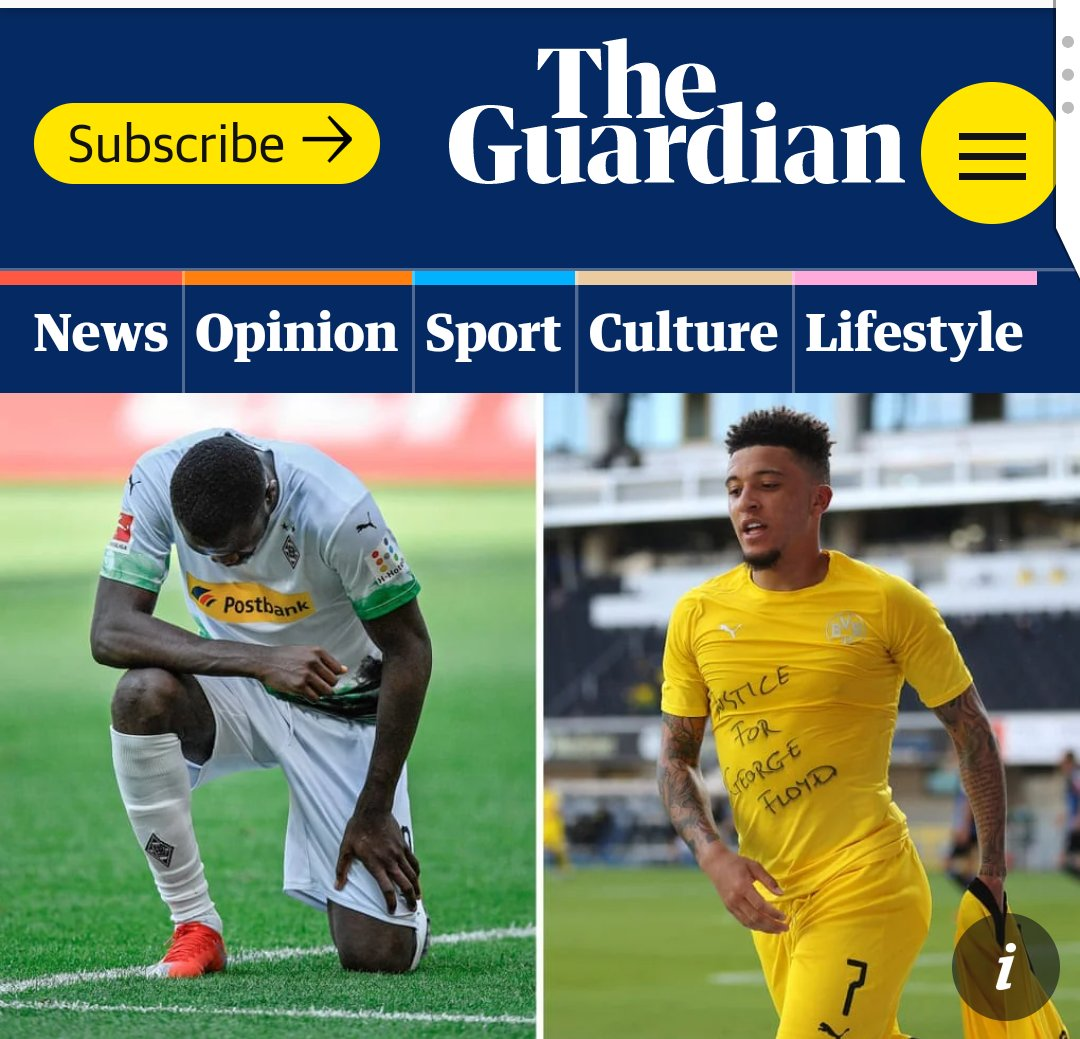 After they scored goals in the German Bundesliga today, @MarcusThuram and Jadon @Sanchooo10 paid tribute to George Floyd ... (📷: @guardian_sport) https://t.co/v5W3VglPBi