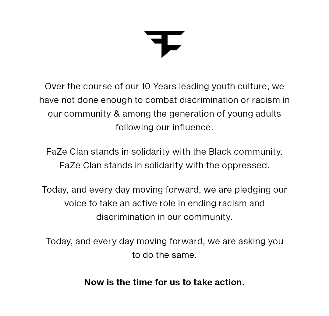 An honest message from FaZe Clan to our fans. https://t.co/z6rPM58Pxe