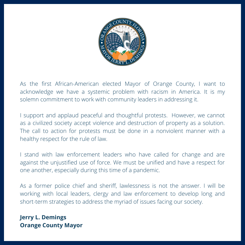 As the first African-American elected Mayor of Orange County, I want to acknowledge we have a systemic problem with racism in America. It is my solemn commitment to work with community leaders in addressing it.   Full statement: https://t.co/NjJu02S9ab https://t.co/3AE7ixqC4I