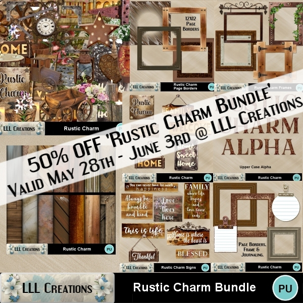 Don't forget to pick up this amazing deal Get Rustic Charm Bundle 50% OFF:  A little #vintage, a little #rustic. Come see the word art, frames & backgrounds included  #scrapbooking #digitalscrapbooking #scrapbook #scrapkits #LLLCreations #MyMemoriesSuite