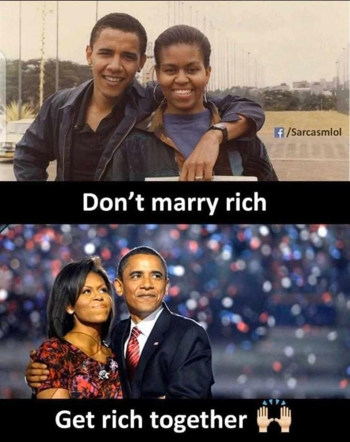 Don't marry rich, get rich together @BarackObama & @MichelleObama #KeaDrive pic.twitter.com/kgm1DODW9k