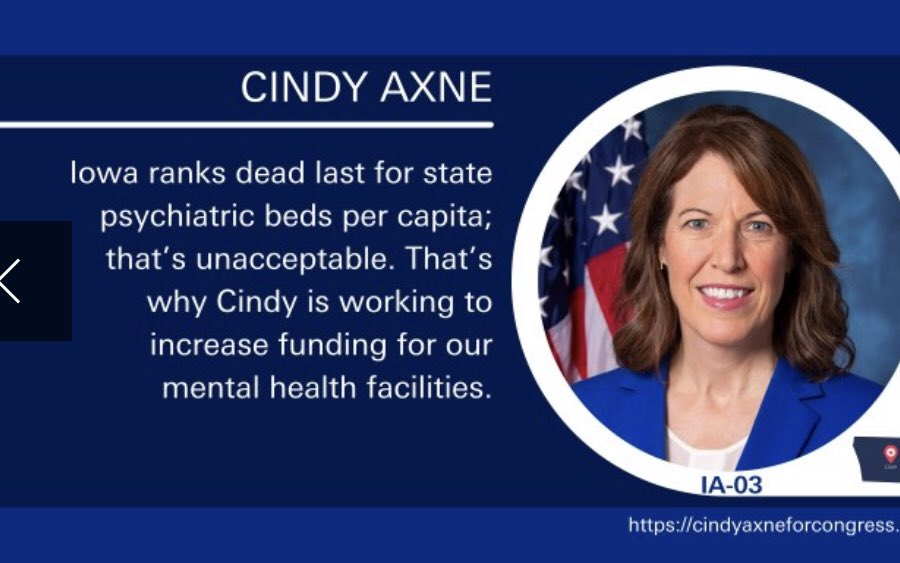 @RepCindyAxne for Iowa is a champion for LGBTQ rights not only promoting marriage equality but also co-sponsoring the equality act. She is also fighting to improve mental healthcare for Iowans. Iowa vote to keep Cindy in office! #OneVoice1 #OV1LGBTQ #BlueDot