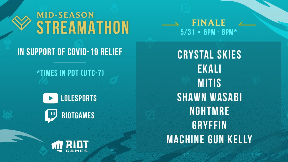 Were closing out the Mid-Season Streamathon in style: Tune in NOW for the #MSS2020 Finale, featuring performances from @ItsCrystalSkies, @EkaliMusic, @MitisOfficial, @shawnwasabi, @NGHTMRE, @gryffinofficial and @machinegunkelly! 📺 watch.lolesports.com/live/midseason…